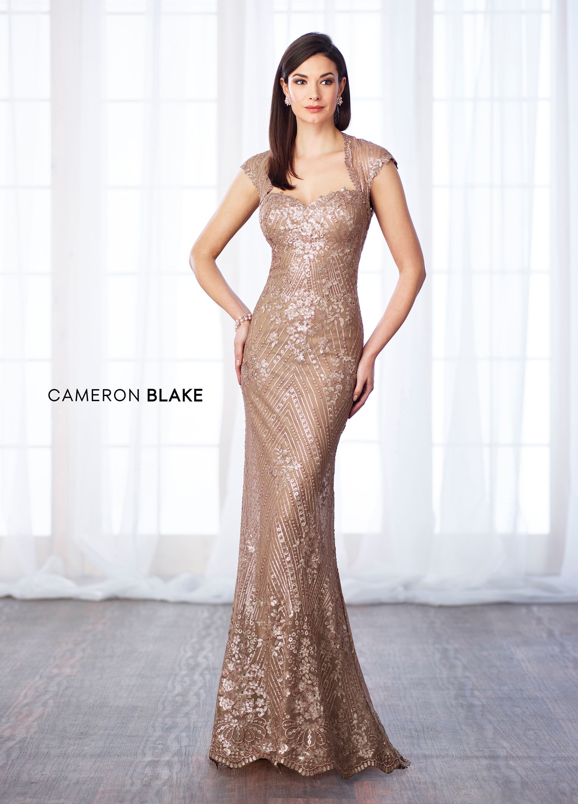 fd05dae53d4e Sequin lace and chiffon fit and flare gown with cap sleeves, Queen Anne  neckline, dropped waistline, keyhole back, scalloped hem.