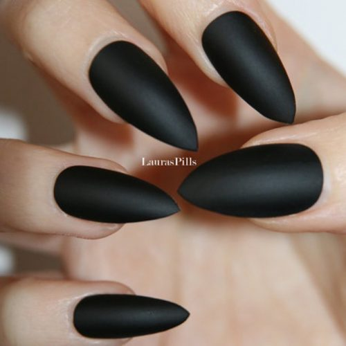 This dark black matte look will show off your innermost feeling of darkness  and gloom for a totally emo vibe. - 34 STUNNING DESIGNS FOR STILETTO NAILS FOR A DARING NEW LOOK – My