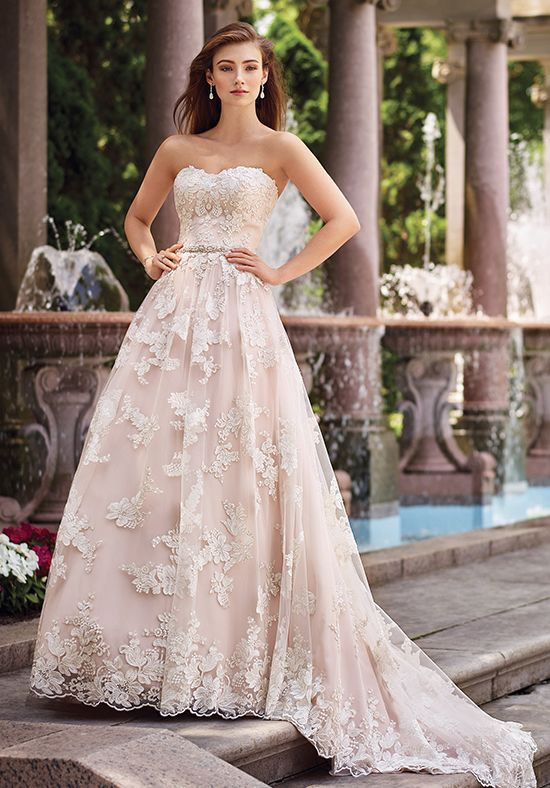 0dad2ae85d94 Strapless re-embroidered Schiffli lace on tulle over chiffon slim A-line  gown with scalloped soft sweetheart neckline