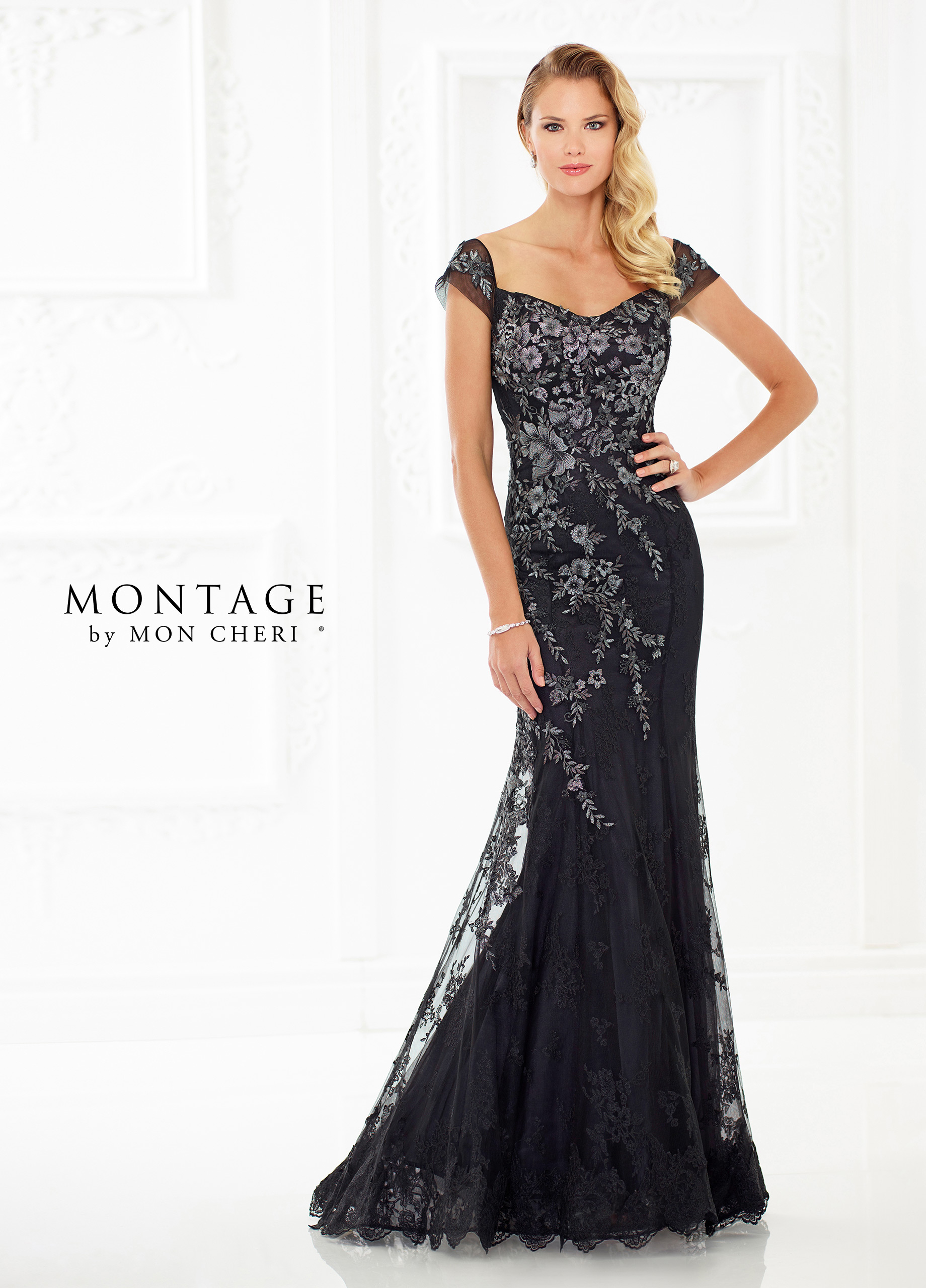 65a570deabb ... in this beautiful metallic lace and tulle fit and flare gown with heat  set stones