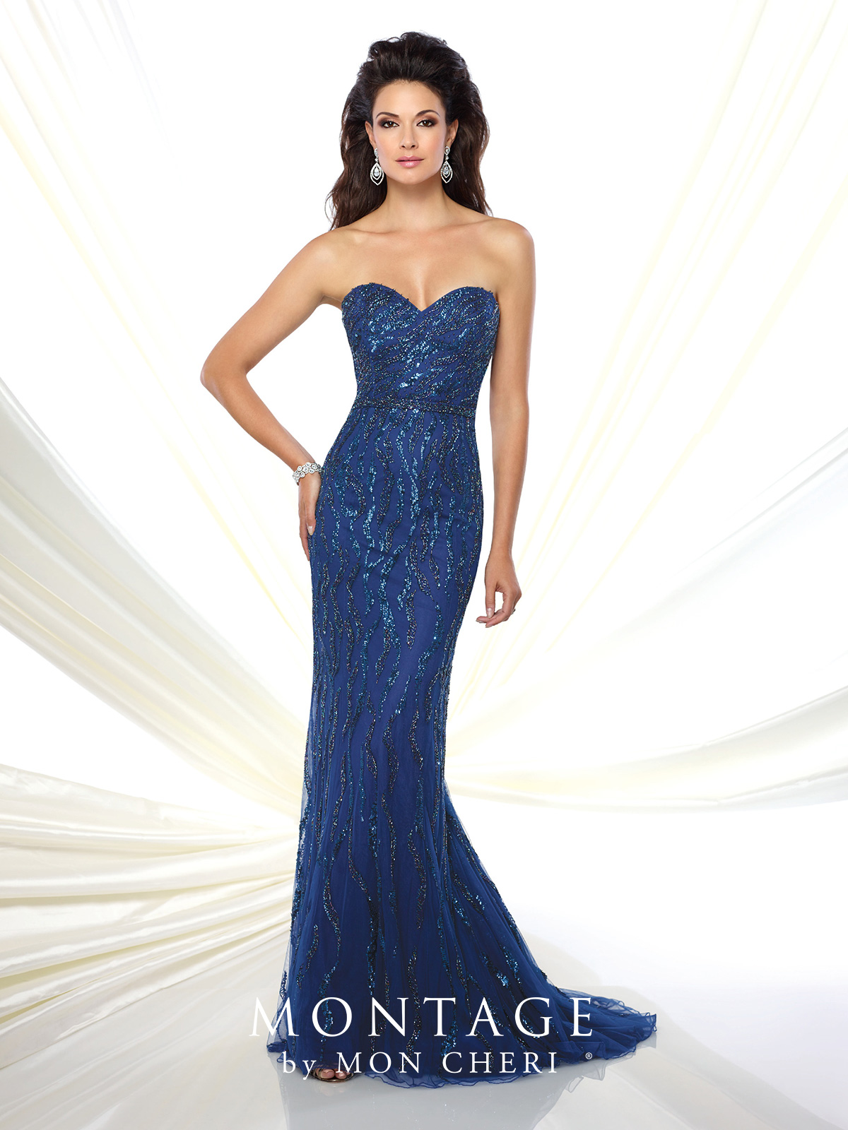 098f7d32829 Lace slim A-line gown with illusion lace three-quarter length sleeves