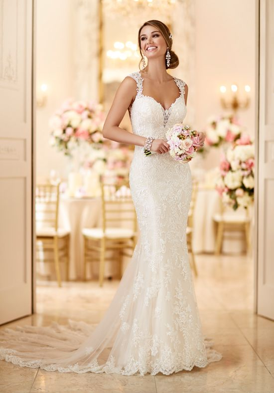 2e3754779f7d This romantic lace over matte-side Lustre satin wedding gown from Stella  York meets all the desires of a modern bride. From its hand-sewn clear  beading, ...
