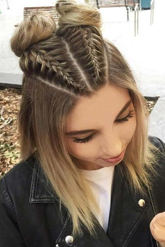 www hairstyles for medium length hair cute hairstyles embellish your top knot with dutch braids 15 stylish hairstyles for shoulder length hair my stylish zoo