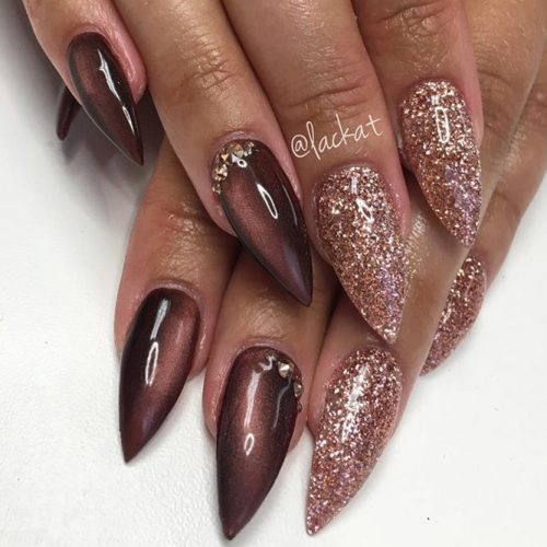 Stiletto nails are all the rage this season and this pretty fall design is  no exception. The pretty mauve polish and sparkling pink on alternating  fingers ... - 45 MUST TRY FALL NAIL DESIGNS AND IDEAS – My Stylish Zoo