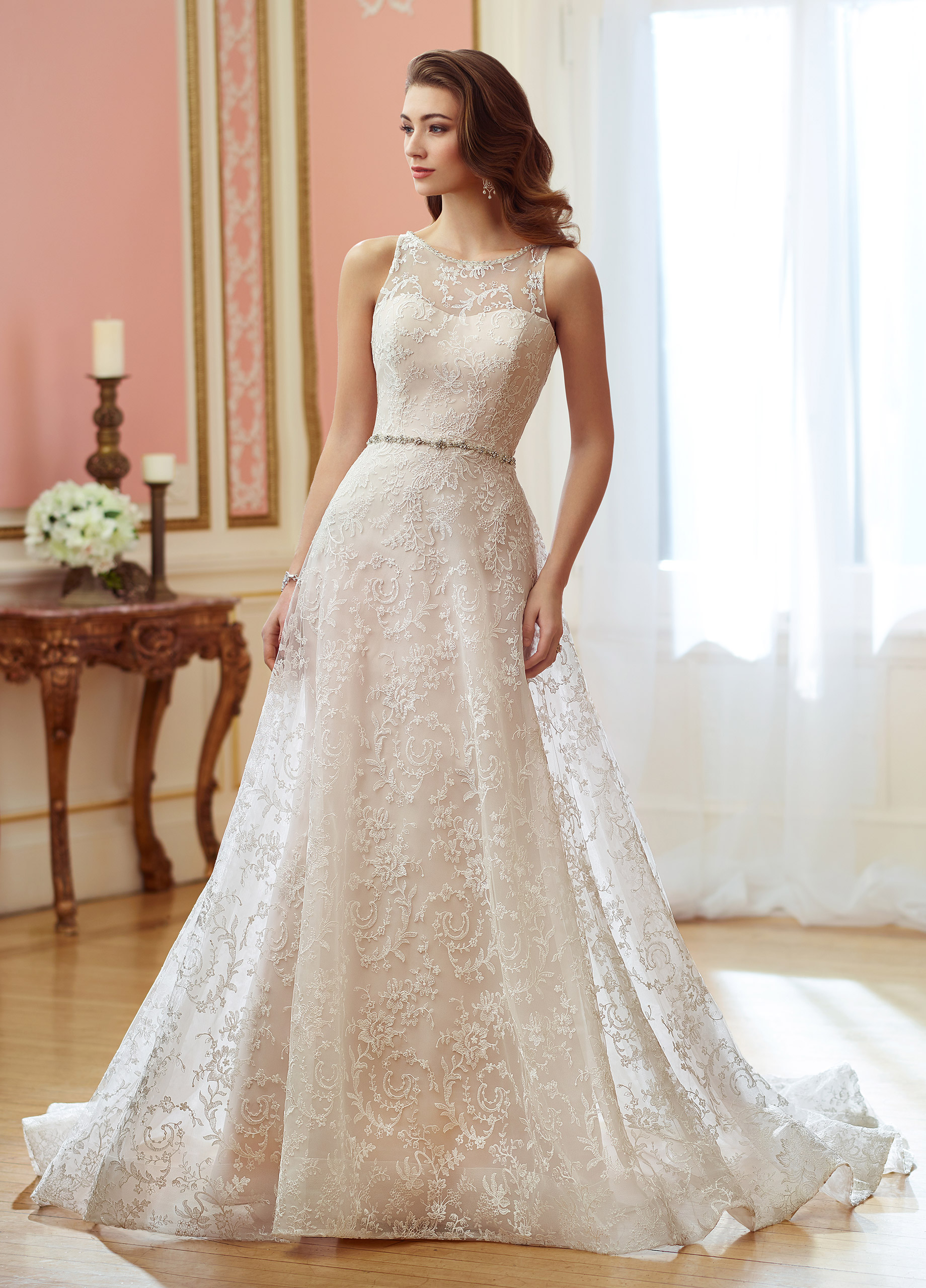656c7c465a9d20 Sleeveless organza and embroidered allover Schiffli lace over satin slim  A-line gown with hand-beaded illusion jewel neckline, soft sweetheart  bodice, ...