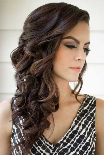 Christmas Party Hairstyles For Wavy Hair Natural Dark Brown Long 334x500
