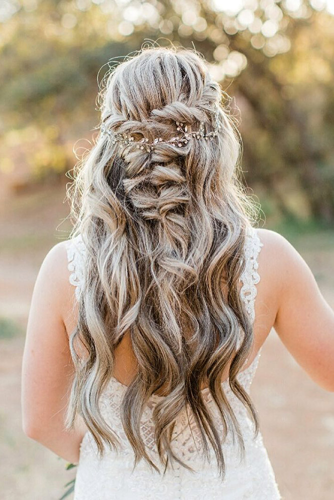 creative hair up styles 35 boho inspired unique and creative wedding hairstyle 4940 | creative unique wedding hairstyles half up half down swept on long hair svglamour