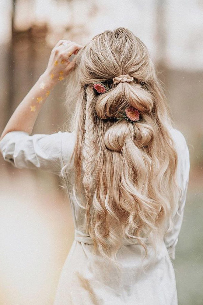 creative hair up styles 35 boho inspired unique and creative wedding hairstyle 4940 | creative unique wedding hairstyles long blonde hair half up half down with braids angelroseturner