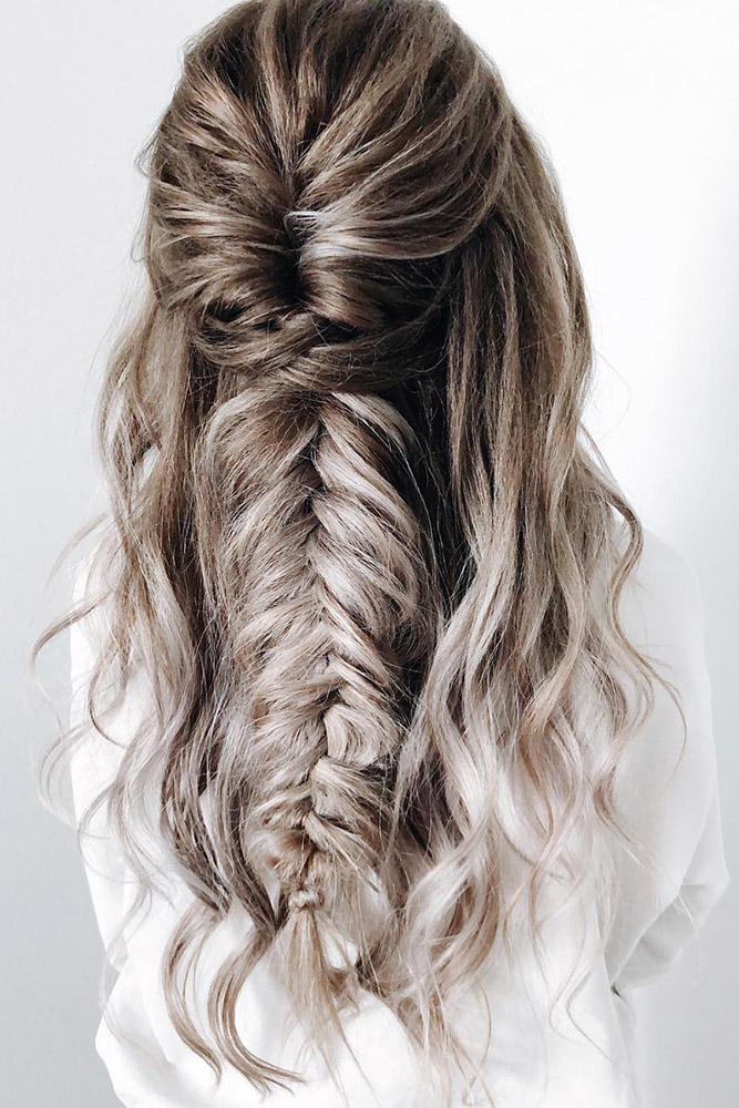 creative hair up styles 35 boho inspired unique and creative wedding hairstyle 4940 | creative unique wedding hairstyles ombre long hair half up half down with braids yourbraids