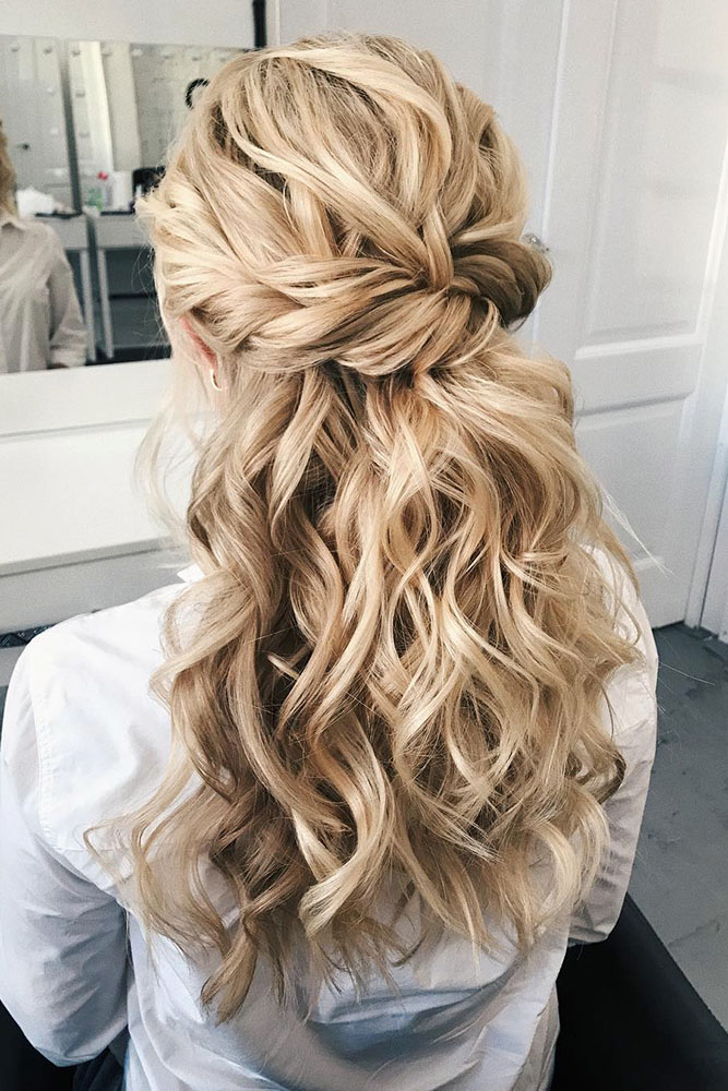 creative hair up styles 35 boho inspired unique and creative wedding hairstyle 4940 | creative unique wedding hairstyles twisted half up half down on bride with long curly blonde hair sasha esenina via instagram