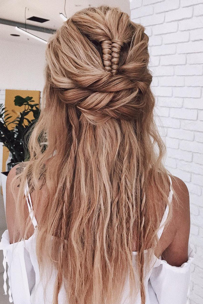 creative hair up styles 35 boho inspired unique and creative wedding hairstyle 4940 | creative unique wedding half up half down with braids on long blonde hair belaya lyudmila