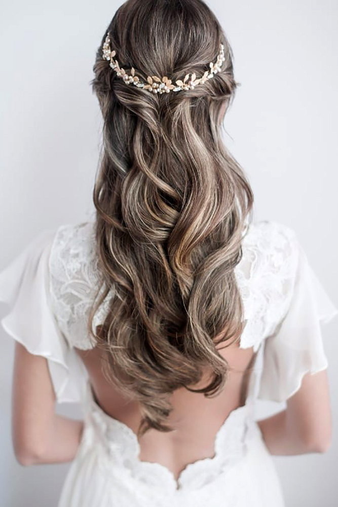 long hair styles down 35 half up half wedding hairstyles ideas my stylish zoo 8496 | half up half down wedding hairstyles ideas elegant long hair curls with gold halo verveine studios